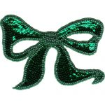 "6 1/2"" by 4 1/2"" Beaded & Sequin Bow Applique - Green-0"