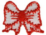 "7/8'' by 3/4"" Iron On Red Bow Applique-0"