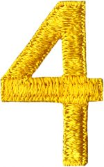 "1 1/2"" by 15/16"" Golden Yellow Number 4 Applique-0"