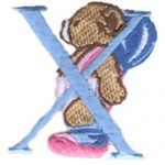 "2 1/4"" by 2 1/8"" Iron On Bear & Letter X Applique-0"
