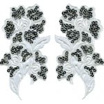 "8"" by 4"" - White Organza with Silver Sequins Applique Set-0"