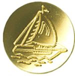 "9/16"" - Gold Metal with Sailboat - Shank Button-0"