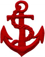 "2 1/8"" by 1 3/4"" Iron On Red Anchor Applique-0"