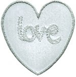"3 5/8 by 3 1/8"" Iron On White Faux Leather Heart Applique-0"