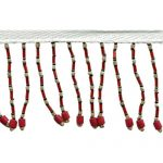 "2 1/2"" Beaded Fringe Red/Beige/Pink -0"