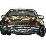 "7"" by 4"" Gold Beaded & Sequin Car Applique-0"