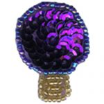 "1 3/8"" by 1 1/8"" Beaded & Sequin Purple Christmas Light Bulb Applique-0"