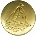 "13/16"" - Gold Metal with Sailboat - Shank Button-0"