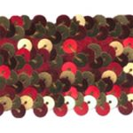 "1 5/8"" Stretch Sequin Trim - Red/Gold-0"