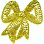 "3"" by 3"" Beaded & Sequin Bow Applique with Pin Back - Yellow-0"