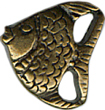 "7/16"" by 3/8"" Bronze Metal Fish Shank Button-0"