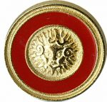 "11/16"" - Gold with Red - Metal Shank Button-0"