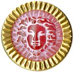 "5/8"" - Blazen Pink - Shank Button with Gold Edge-0"