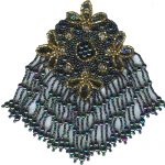 "3 3/4"" by 6 1/4"" Dark Multi/Gold Beaded/Sequin Fringed Applique with pin backing-0"
