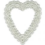 "2 3/4"" by 3 3/16"" Ivory Heart Venice Applique-0"