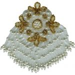 "3 3/4"" by 6"" White/Gold Beaded/Sequin Applique with Fringe-0"