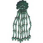 "5"" by 1 3/8"" Green Beaded/Sequin Clip Back Earrings-0"