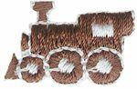 "15/16"" by 5/8"" Iron on Train Applique - Brown-0"