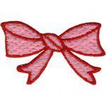"2 1/2"" by 1 1/2"" Pink/Red Bow Applique-0"