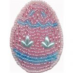 "2"" by 1 1/2"" Easter Egg Beaded Applique Pink/Blues-0"