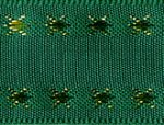 "7/8"" Green with Gold Design Taffeta Ribbon-0"