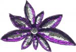 "8 1/2"" by 5 7/8"" Purple/Silver Beaded/Sequin Applique-0"