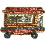 "4 3/8"" by 3"" Beaded/Sequin Carnival Wagon Appliques-0"