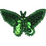 "1 7/8"" by 1"" Green Beaded/Sequin Pin Back Butterfly Applique-0"