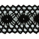 "1 7/8"" - Cotton Cluny Lace - Black with Silver-0"