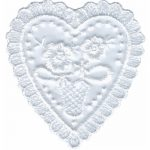 "3"" by 3 1/8"" White Organza Heart Applique-0"