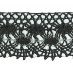 "2 3/8"" Black Cotton Cluny Lace with Silver -0"
