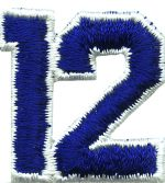 1 1/4'' by 1 3/8'' Royal Blue with White Edge Iron On Number 12 Applique-0