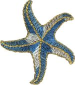 "2 1/8"" - 5.4 cm - Blue Iron On Star Fish Appliques-0"