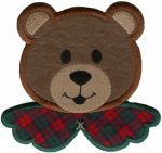 5 7/8'' by 4 1/2'' Iron On Christmas Bear Head Applique-0