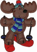 3 1/4'' by 4 1/2'' Iron On Skiing Moose Applique-0