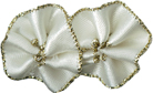 "1 1/4"" by 13/16"" Ivory/Gold Ribbon Flower-0"
