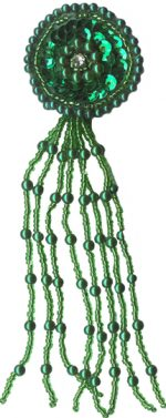 "5 3/8"" by 1 1/2"" Green Beaded/Sequin Tassel with Rhinestone Center - Pierced/Clip On Earring-0"