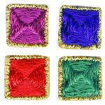 "1/2"" - 1.3 cm - Square Iron On Jewel Tone with Gold Edge Applique- 4 Colors-0"