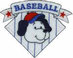 4'' by 3 3/8'' Iron On Baseball Dog Applique-0