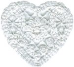 3'' by 2 3/4'' White Cotton Heart Applique-0