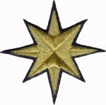 3 1/2'' - 8.9 cm Gold Metallic Star Iron On Applique with Navy Blue Outline-0