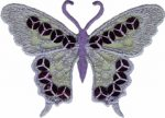 3 3/8'' by 2 3/8'' Lavender Organza with Sequins Butterfly Applique-0
