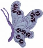 2 3/8'' by 2 3/4'' Lavender Organza with Sequins Butterfly Applique-0