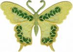 3 3/8'' by 2 1/4'' Yellow Organza with Sequins Butterfly Applique-0