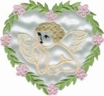 3'' by 2 3/4'' White Satin Iron On Heart Applique - Pink/Green-0