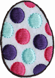 2 1/8'' by 1 1/2'' Polka Dot Easter Egg Iron On Applique-0