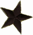 2'' - 5.1 cm - Star with Gold Edge Applique - Black-0
