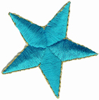 2'' - 5.1 cm - Turquoise Iron On Star Applique with Gold Edge-0