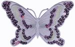 4 1/2'' by 2 7/8'' Sequined Organza Double Butterfly Applique-0
