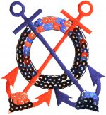 2 3/4'' by 2 7/8'' Red/Blue Sequin Anchor Applique-0